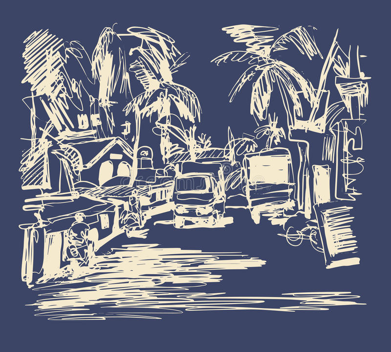 digital drawing of India Goa Calangute Baga landscape street, t royalty free illustration