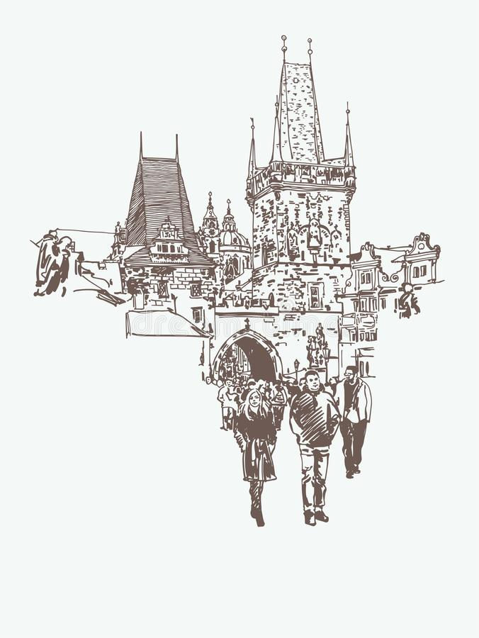 Free Digital Drawing Of A Historical Tower In Prague, Czech Republic Stock Images - 134684034