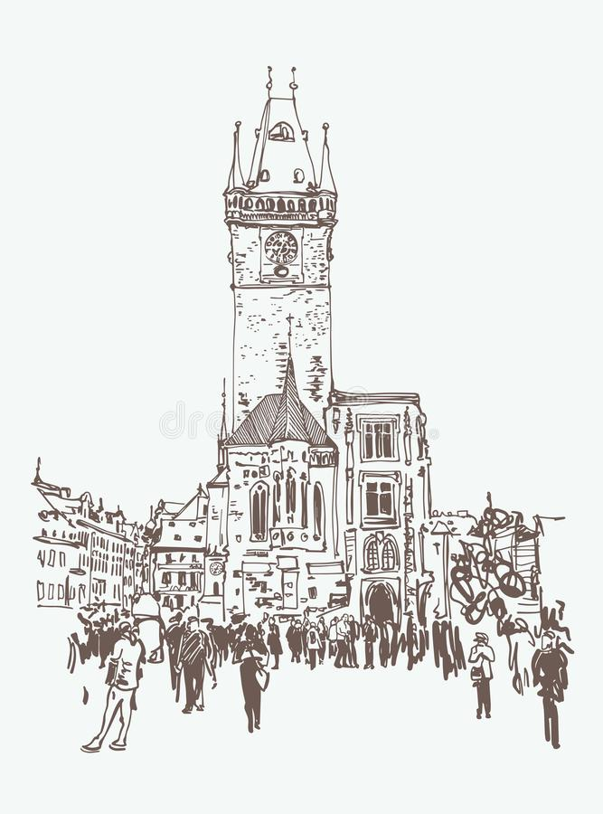 Free Digital Drawing Of A Historical Tower In Prague, Czech Republic Stock Image - 134684071