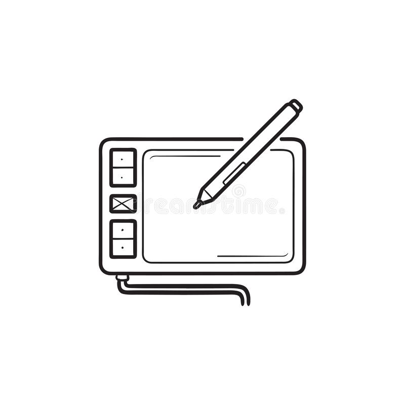 Digital drawing tablet hand drawn outline doodle icon. stock illustration