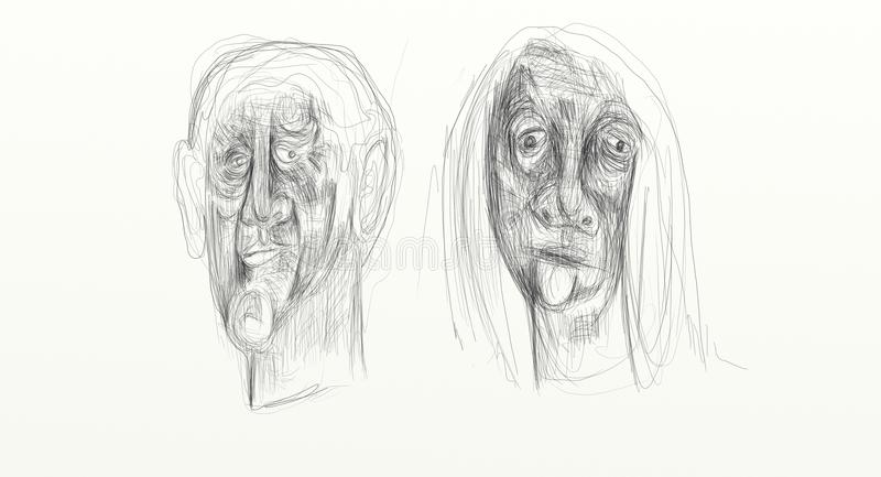 Line Drawing Of Human Face : Digital drawing in wide screen format figurative minimalist