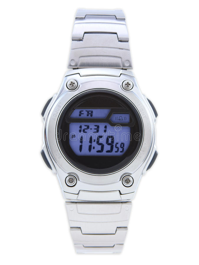 Digital Dress Watch with blue face stock photos