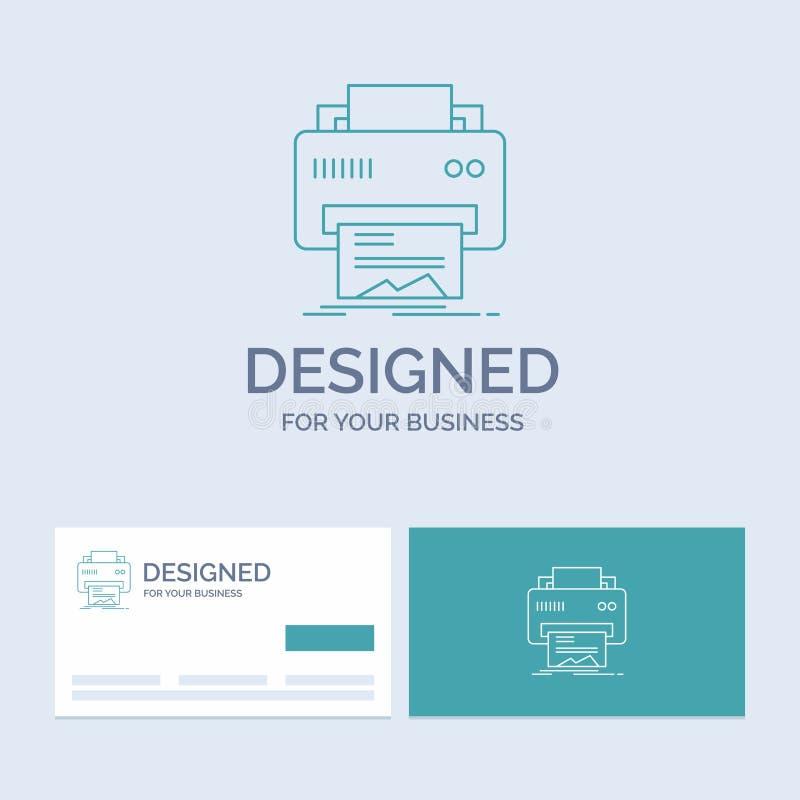 Digital, drukarka, druk, narzędzia, papierowy Biznesowy logo linii ikony symbol dla twój biznesu Turkusowe wizyt?wki z gatunkiem ilustracji