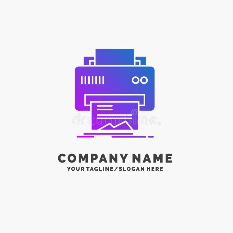 Digital, drukarka, druk, narzędzia, papierowy Purpurowy Biznesowy logo szablon Miejsce dla Tagline ilustracji
