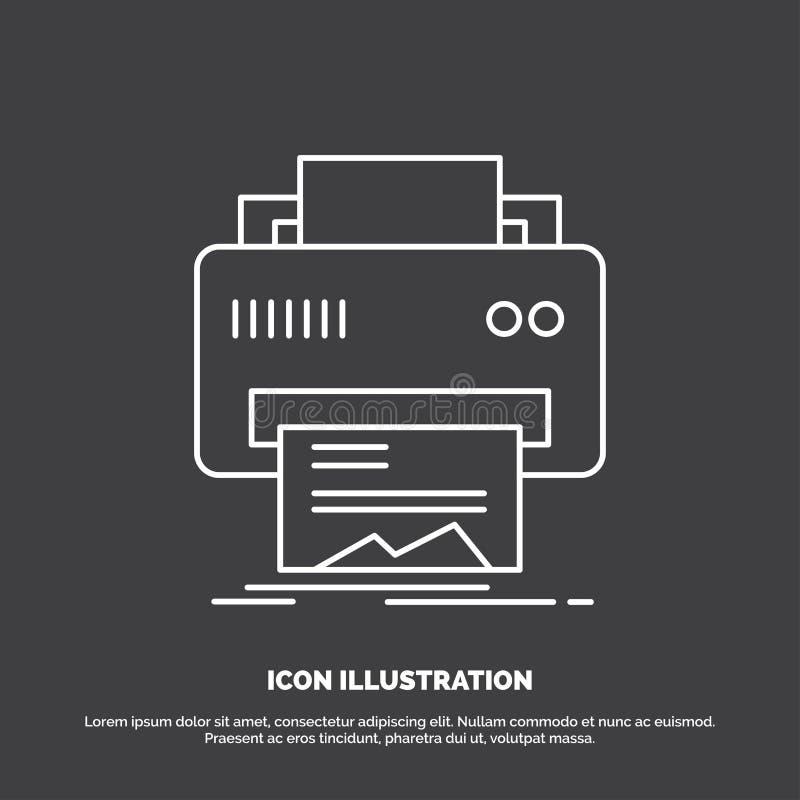 Digital, drukarka, druk, narz?dzia, papierowa ikona Kreskowy wektorowy symbol dla UI, UX, strona internetowa i wisz?cej ozdoby za ilustracja wektor