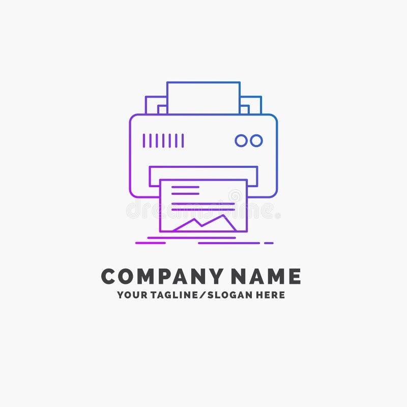 Digital, drukarka, druk, narz?dzia, papierowy Purpurowy Biznesowy logo szablon Miejsce dla Tagline ilustracja wektor