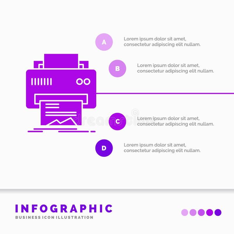 Digital, drukarka, druk, narz?dzia, papieru Infographics szablon dla strony internetowej i prezentacja, glif Purpurowa ikona info ilustracja wektor