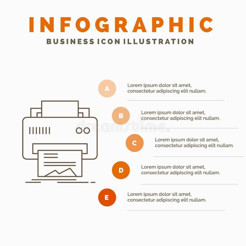 Digital, drukarka, druk, narz?dzia, papieru Infographics szablon dla strony internetowej i prezentacja, Kreskowa Szara ikona z po royalty ilustracja