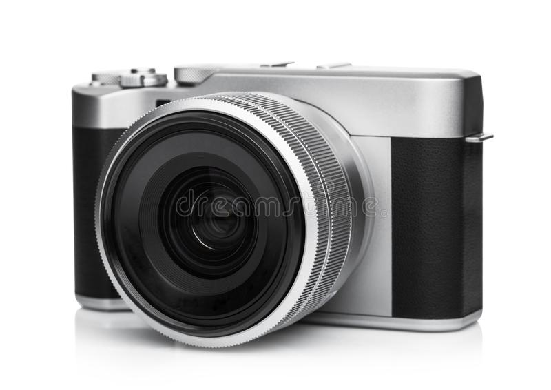 Digital DSLR photo camera with black leather grip royalty free stock photo