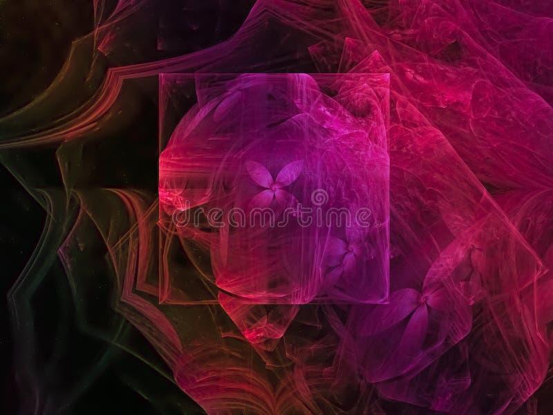 Digital dynamisk fractal, overklig design för svart för abstrakt begrepp för framtid för modell för partikeleffektgåta, parti, ko royaltyfri illustrationer