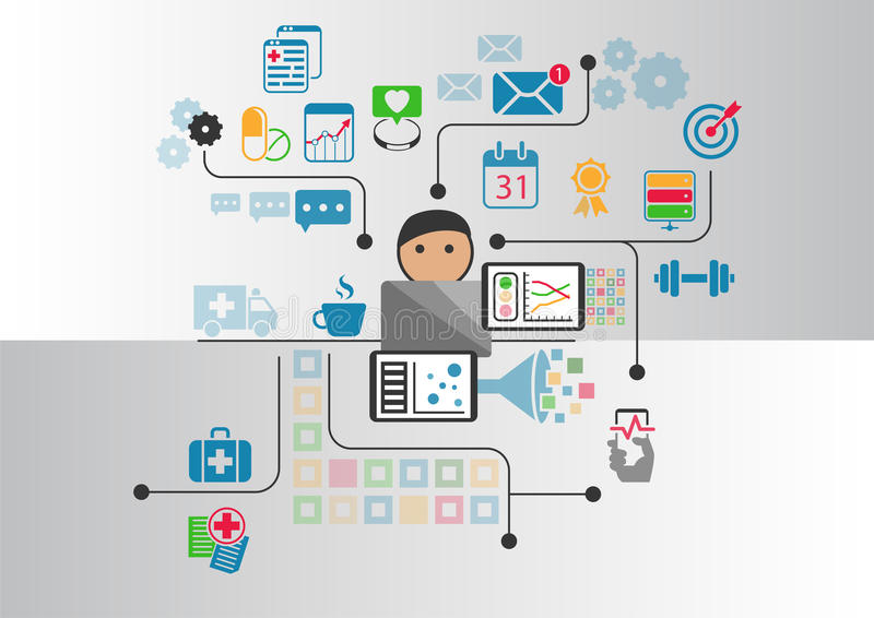 Digital e-health concept as illustration. Cartoon person connected to online doctor and hospital stock illustration