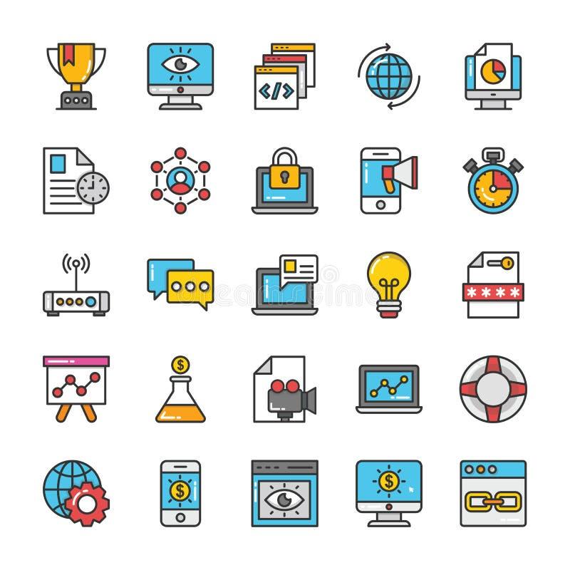 Digital e le icone di vettore di vendita di Internet hanno messo 2 illustrazione di stock