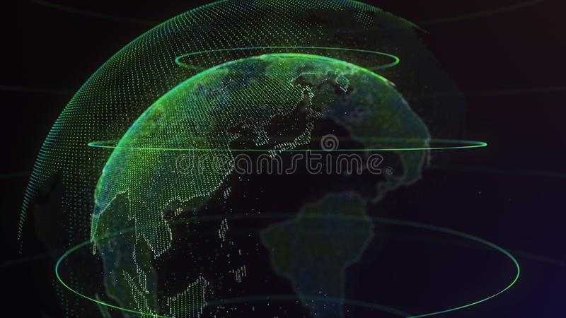 Digital Earth Global network concept 3d animation stock photo