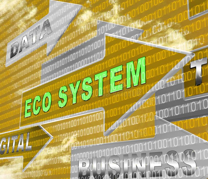 Digital Eco System Data Interaction 3d Rendering. Shows Internet Ecosystem Structure And Technology Across The Globe stock illustration