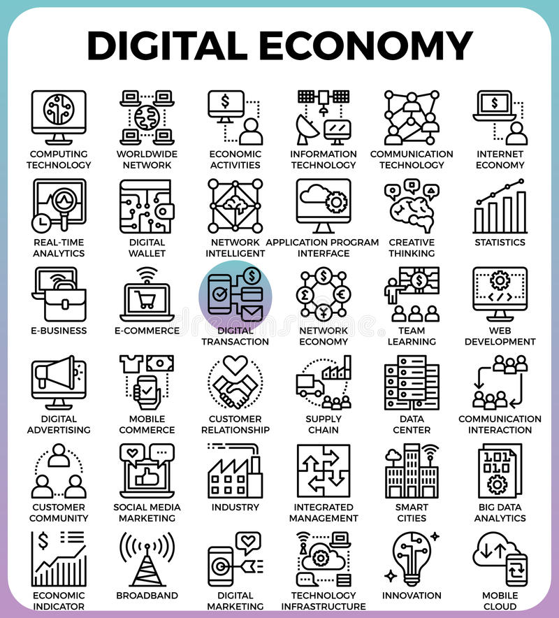 Digital economy concept icons. Digital economy business concept detailed line icons set in modern line icon style for ui, ux, website, web, app graphic design vector illustration