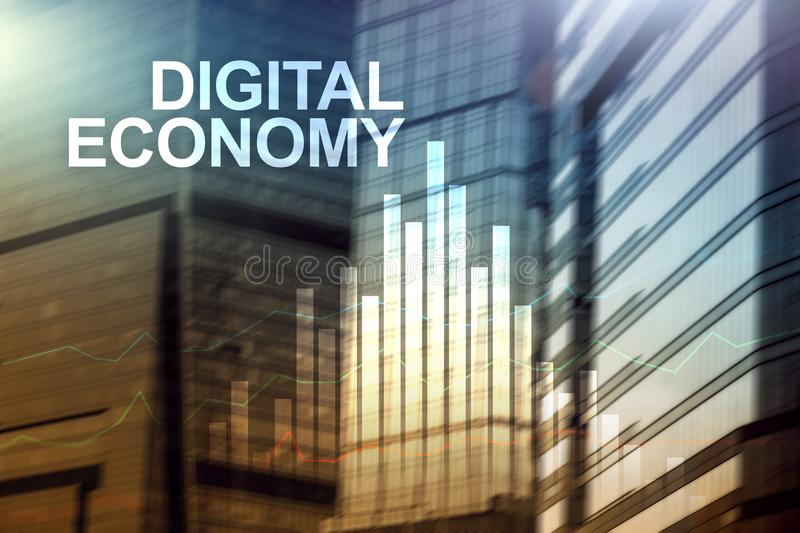 DIgital economy, financial technology concept on blurred background. DIgital economy, financial technology concept on blurred background stock image