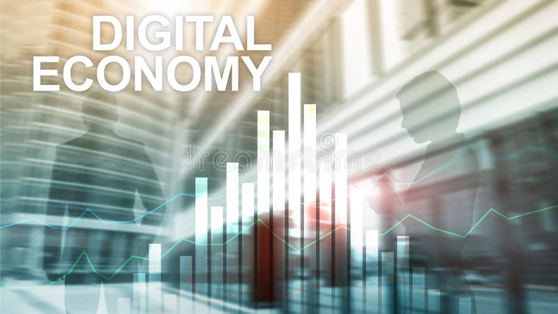 DIgital economy, financial technology concept on blurred background. royalty free stock image