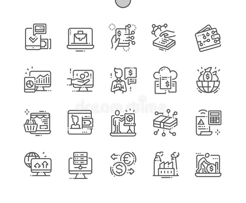 Digital Economy Well-crafted Pixel Perfect Vector Thin Line Icons 30 2x Grid for Web Graphics and Apps. vector illustration