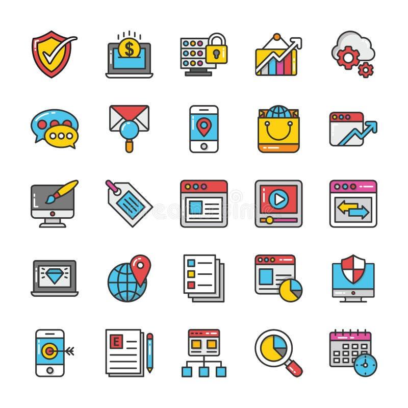 Digital ed icone di vettore di vendita di Internet messe illustrazione di stock