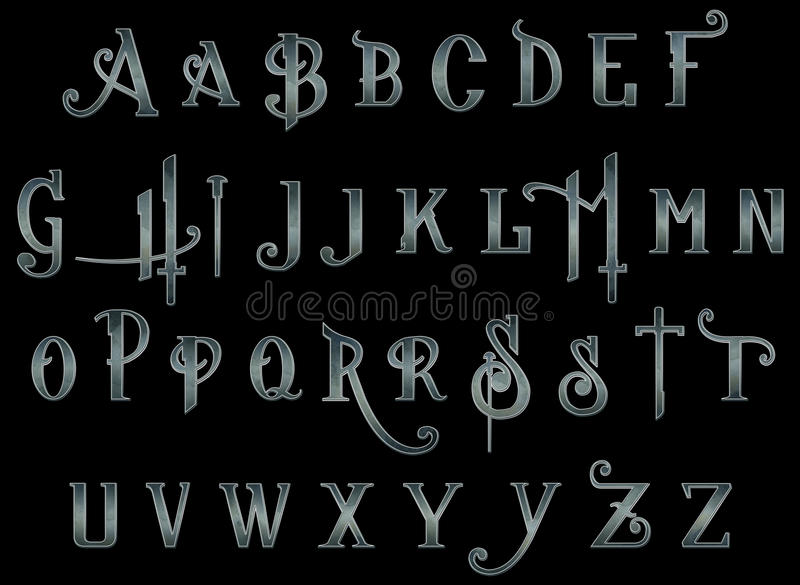 Digital-Einklebebuch-Alphabet Steampunk-unerwarteter Schlag lizenzfreie abbildung