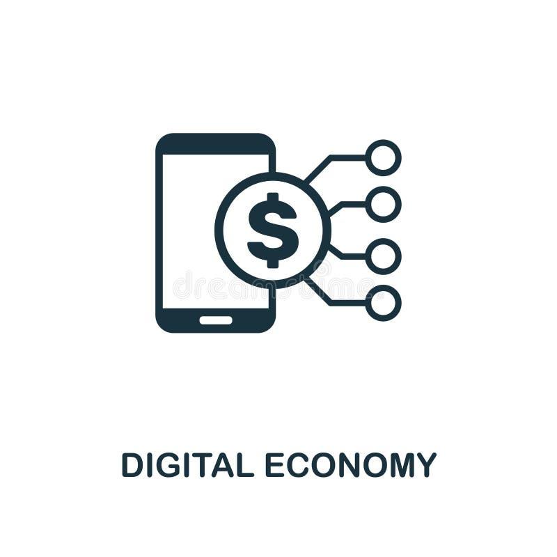 digital ekonomisymbol Idérik beståndsdeldesign från samling för fintechteknologisymboler Perfekt Digital för PIXEL ekonomi royaltyfri illustrationer