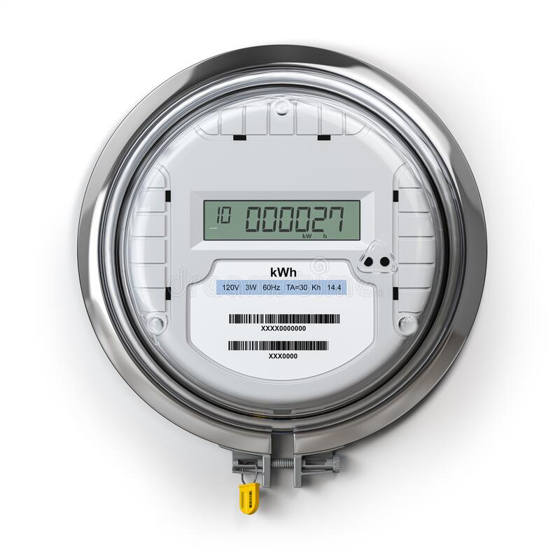 Free Digital Electric Meter With Lcd Screen Isolated On White. Electricity Consumption Concept Stock Photo - 169677840