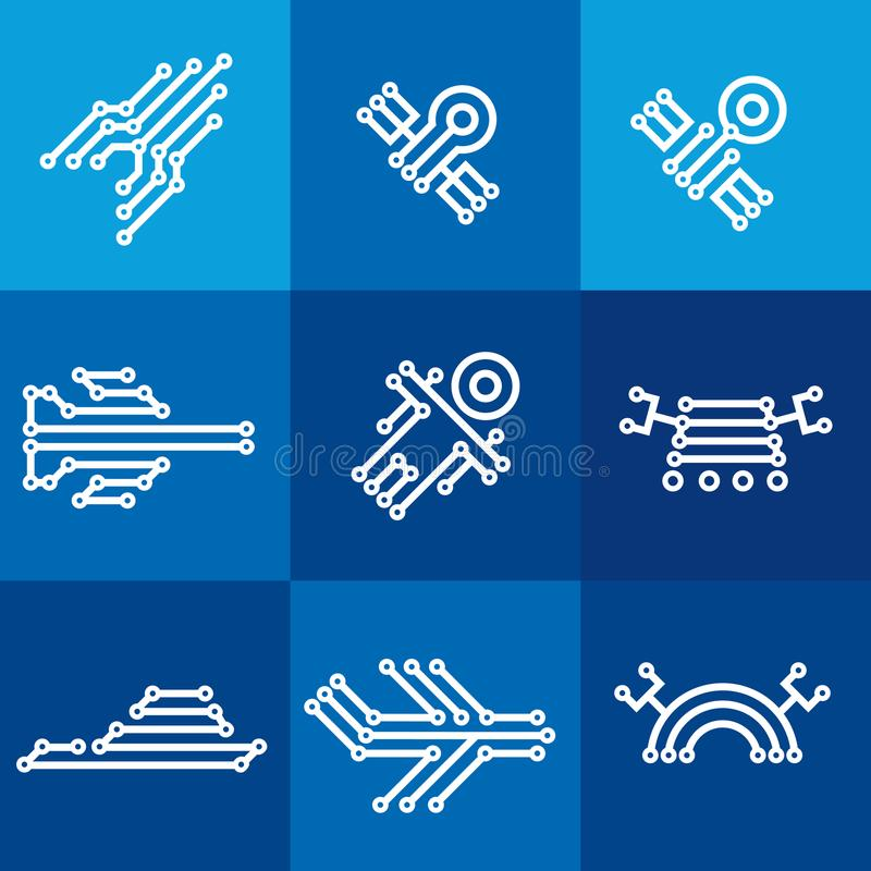Free Digital Electronic Icons On Blue Squares Royalty Free Stock Photo - 113618545