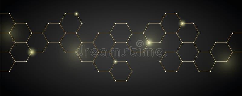 Digital elektronik för guld- teknisk honungskakabakgrund royaltyfri illustrationer