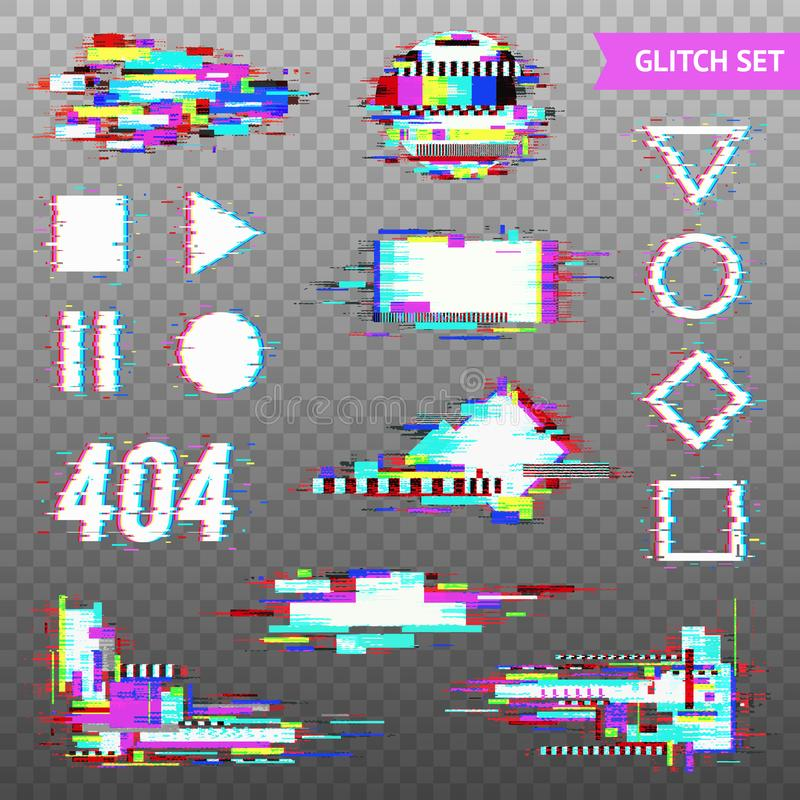 Digital Elements In Distorted Glitch Style stock illustration