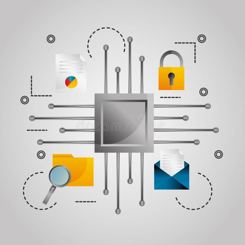 Digital email för dokument för inställning för datasäkerhet vektor illustrationer