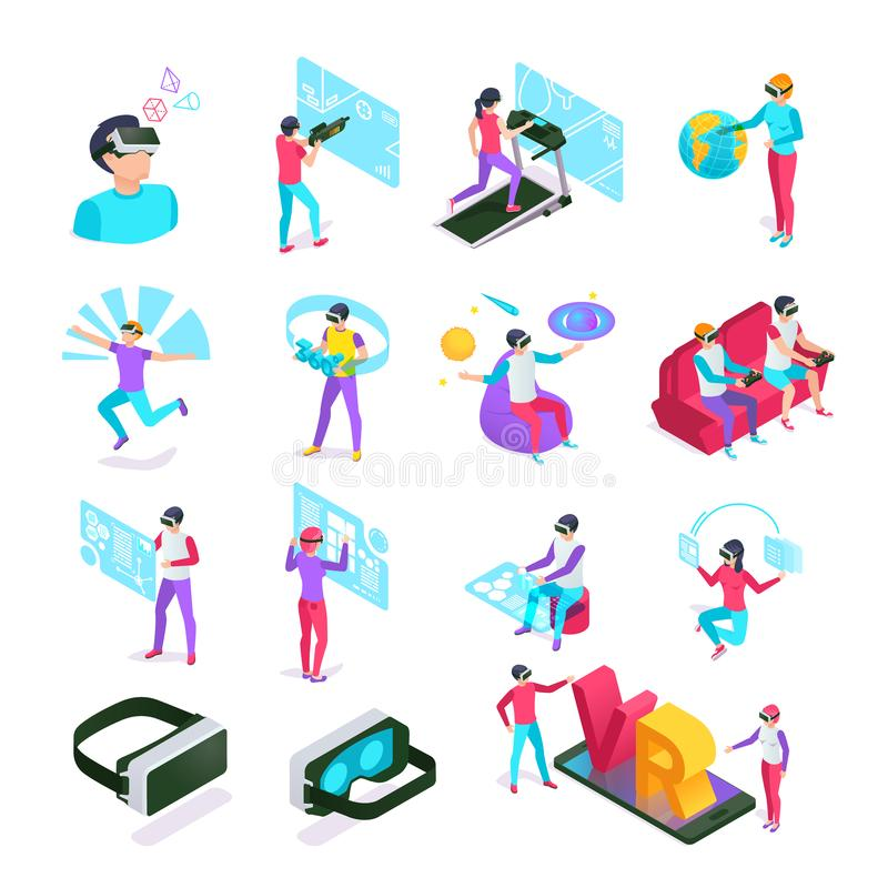 Digital entertainments VR cyberspace headset computer. Augmented or virtual reality glasses at isometric people vector vector illustration
