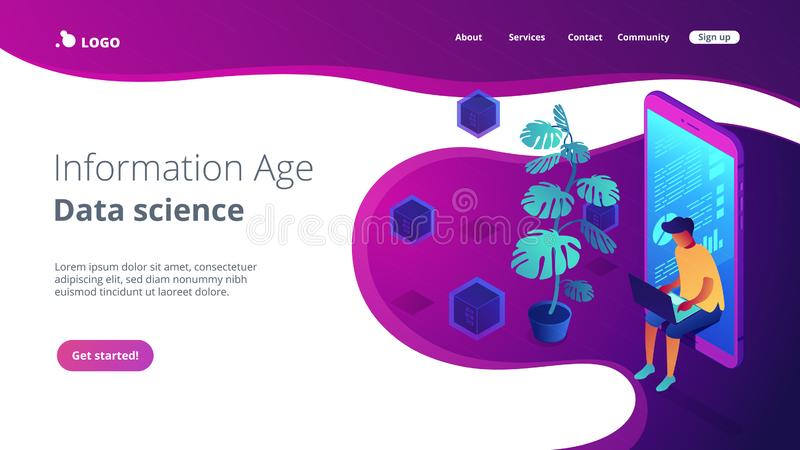 Digital era isometric 3D landing page. Programmer sitting in mobile phone near plant and working with laptop. Digital health and digital era, information age royalty free illustration