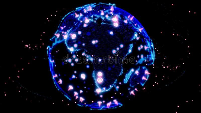 Digital-Erddatenkugel - Zusammenfassung 3D, die Satelliten starlink Network Connection die Welt ?bertr?gt Satelliten schaffen stock abbildung