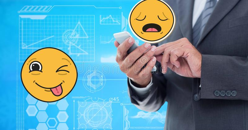 Digital erzeugtes Bild des Geschäftsmannes unter Verwendung des intelligenten Telefons mit emoji Technologiegraphiken lizenzfreie abbildung