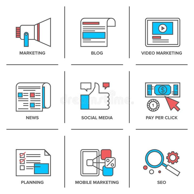 Digital et media social lançant la ligne sur le marché icônes réglées illustration libre de droits