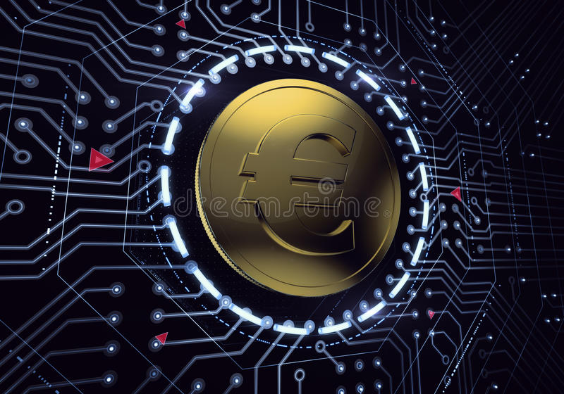 Digital Euro Currency. Golden coin with the euro symbol in electronic cyberspace. 3D rendered image royalty free stock photography