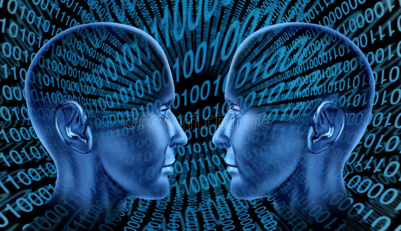 Digital exchange technology sharing binary code hu stock illustration