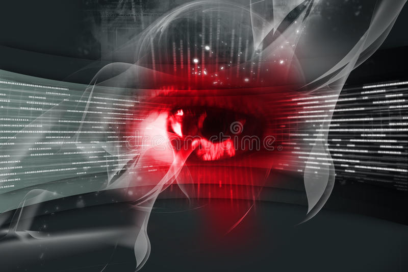 Digital eye. Digital illustration of an eye scan as concept for secure digital identity royalty free illustration