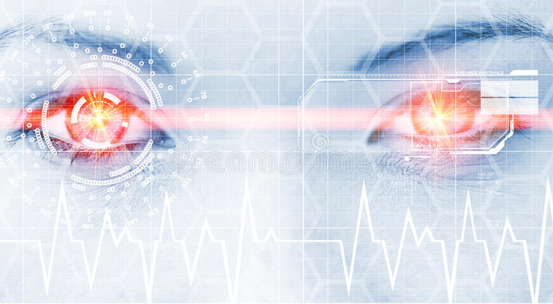 Digital eye. Abstract photo of a woman´s eye with head-up display and laser beam stock photo