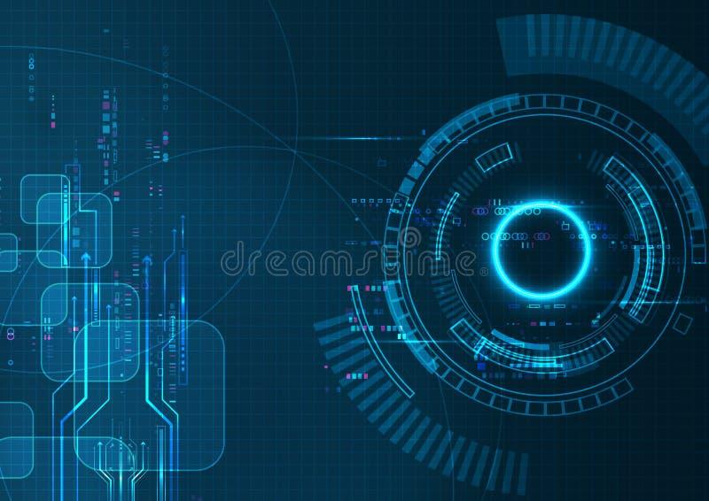 Digital för blått PIXEL futuristisk teknologi vektor illustrationer