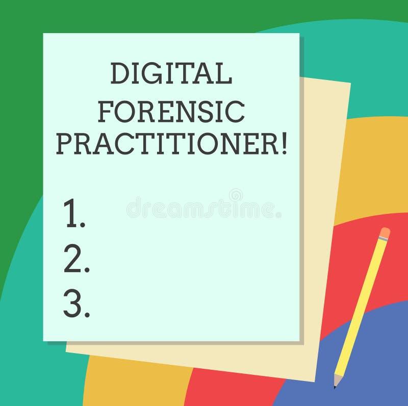 Digital för ordhandstiltext rättsmedicinsk praktiker Affärsidé för specialist, i att utforska bunten för datorbrott vektor illustrationer
