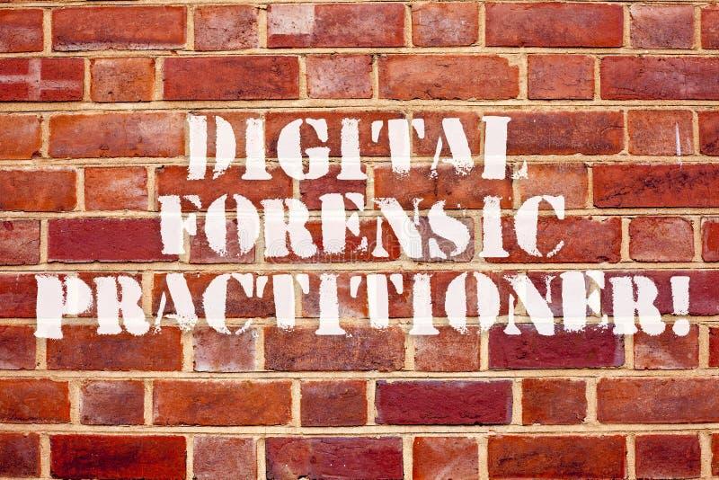 Digital för ordhandstiltext rättsmedicinsk praktiker Affärsidé för specialist, i att utforska datorbrott royaltyfri illustrationer