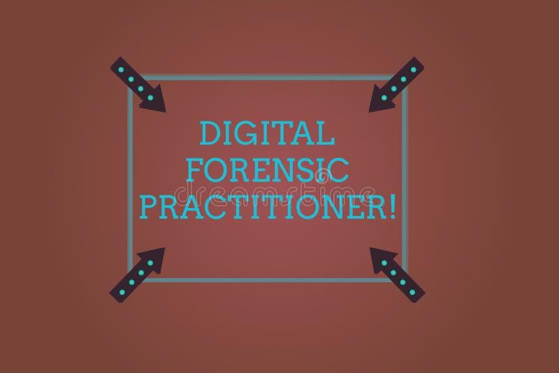 Digital för ordhandstiltext rättsmedicinsk praktiker Affärsidé för specialist, i att utforska fyrkanten för datorbrott stock illustrationer