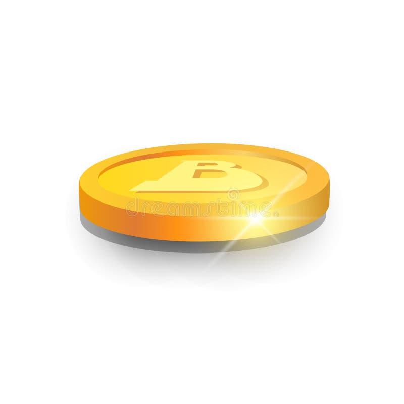 Digital för pengar för rengöringsduk för symbol för 3d Bitcoin modern valuta Logo Concept vektor illustrationer