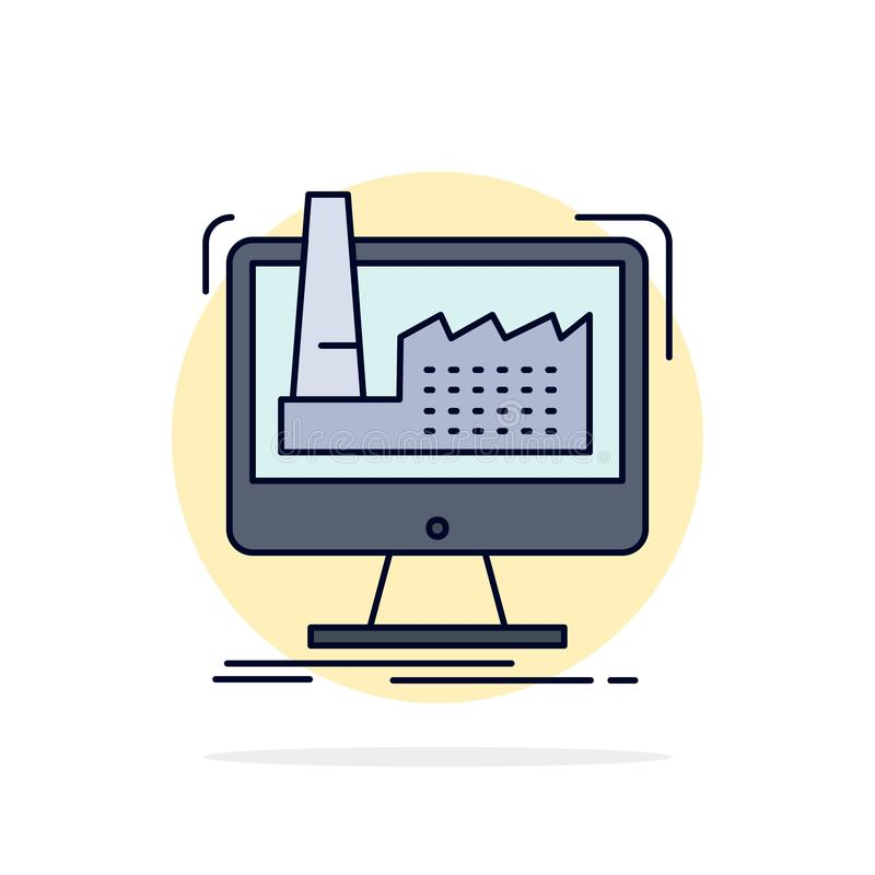 digital, Fabrik, Herstellung, Produktion, Produkt flacher Farbikonen-Vektor lizenzfreie abbildung