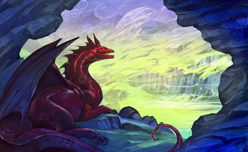 Digital fantasy landscape horizontal illustration with a red dragon resting in the cave stock illustration