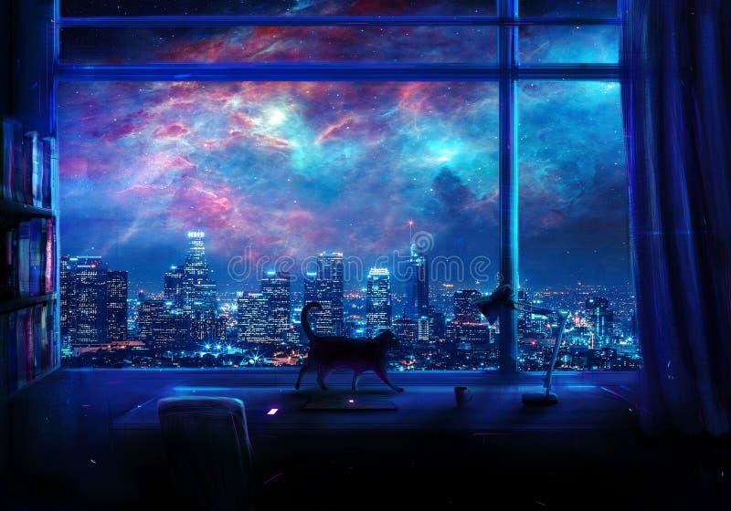 Digital-Farbe eines leeren Schreibtisches auf einer galaktischen Wolkenkratzer-Ansicht lizenzfreie stockfotos