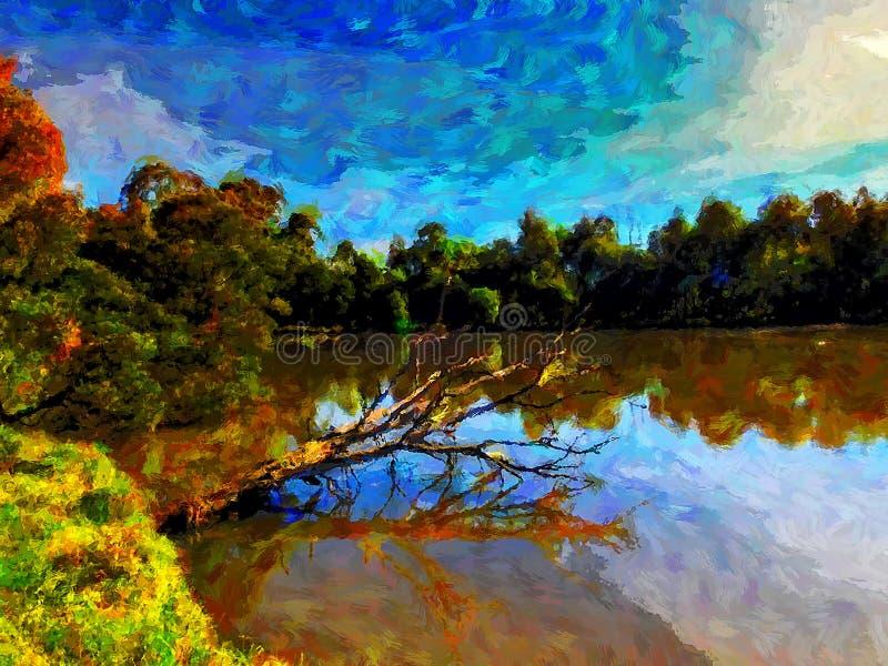 Digital-Farbe streicht Bild des Sees in Birdsland-Reserve lizenzfreie abbildung