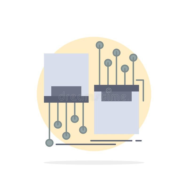 digital, Faser, elektronisch, Weg, Kabel flacher Farbikonen-Vektor stock abbildung