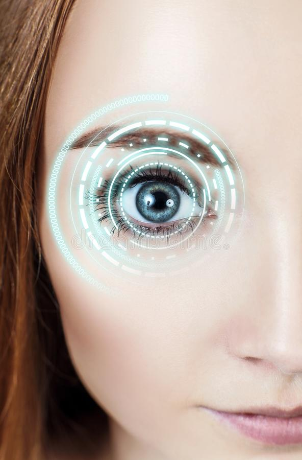 Digital female eye in process of scanning. Digital female brown eye in process of scanning royalty free stock image